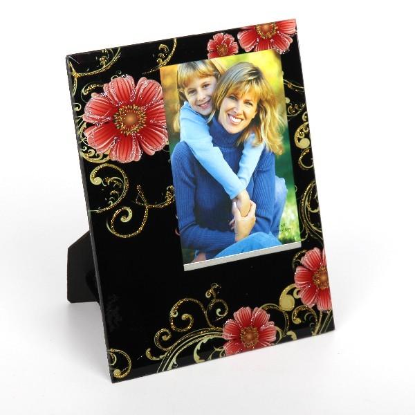 Фоторамка из стекла ″Феерия цвета″ 10х15 см цветы на черном фоне купить оптом и в розницу