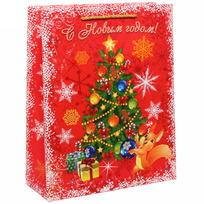 Пакет 26х32 см усиленный с блестками ″С Новым годом!″, Белочка, вертикальный купить оптом и в розницу