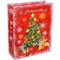 Пакет подарочный 26х32 см вертикальный ″С Новым годом!″, Белочка купить оптом и в розницу