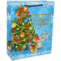 Пакет подарочный 26х32 см вертикальный с блестками ″Поздравляю с Новым годом!″, Зайчик купить оптом и в розницу