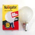 Лампа накаливания Navigator NI-С-60Вт-E14-230В-FR матов.сфера (10/100) купить оптом и в розницу