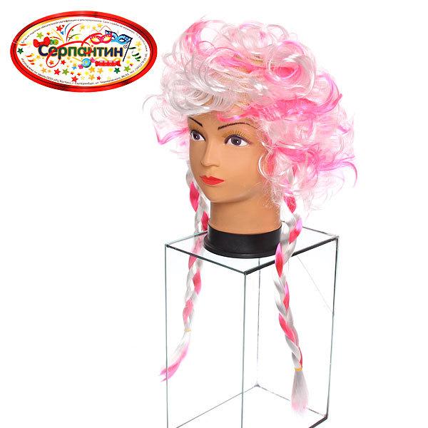 Парик карнавальный ″Мадам Помпадур″ бело-розовый купить оптом и в розницу