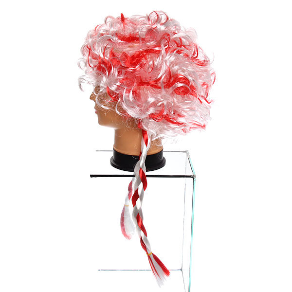 Парик карнавальный ″Мадам Помпадур″ бело-красный купить оптом и в розницу