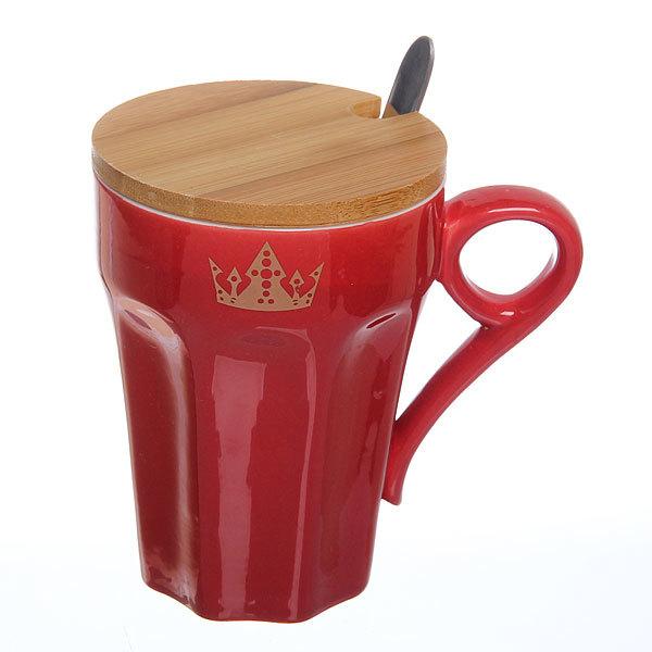 Кружка керамическая с бамбуковой крышкой 300мл ″Король″ купить оптом и в розницу