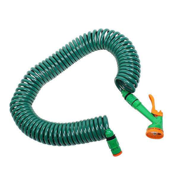 Шланг поливочный 15м, ПВХ, витой, пластмассовый распылитель и 2 адаптера JL050 купить оптом и в розницу