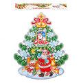 Плакат новогодний 54*40 см Елка Дед Мороз с мешком подарков купить оптом и в розницу