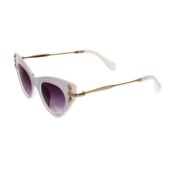 Очки солнцезащитные женские, форма кошка ″Сантана ШИК″, цвет белый, тонкие дужки купить оптом и в розницу