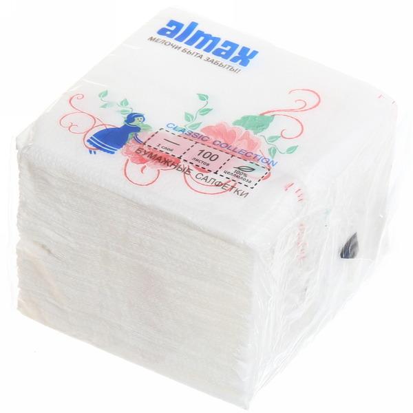Салфетки бумажные 1сл. 100л ALMAX Classic 24*24 купить оптом и в розницу