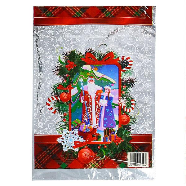 Пакет подарочный ПВХ 40х24,5 см ″Новогодний″ Дед Мороз со Снегурочкой у елочки купить оптом и в розницу