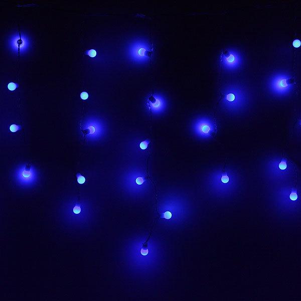 Бахрома светодиодная 3 х 0,3/0,4/0,5м, 96 ламп LED, Шар, Синий,без реж,прозр.пров,с возм.соед купить оптом и в розницу