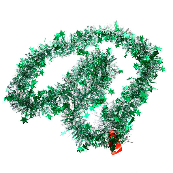 Мишура новогодняя 2 метра 9см ″Звездочки″ зеленый купить оптом и в розницу