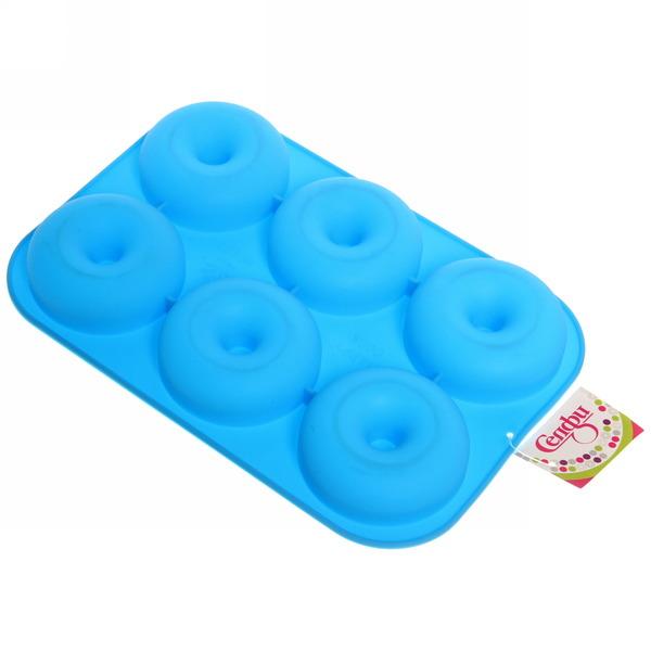 Форма силиконовая ″Пончики″ 6 ячеек 28*19*3 см купить оптом и в розницу