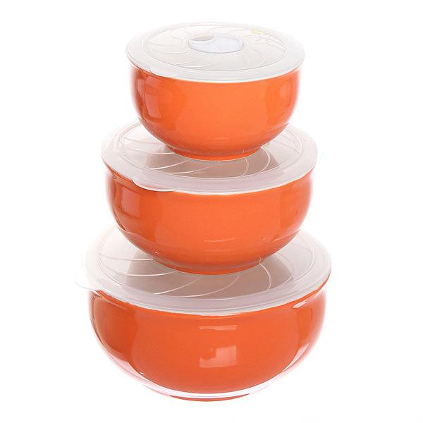 Набор салатников керамических 3шт с крышками ″Радуга″ 200,400,800мл оранжевый купить оптом и в розницу