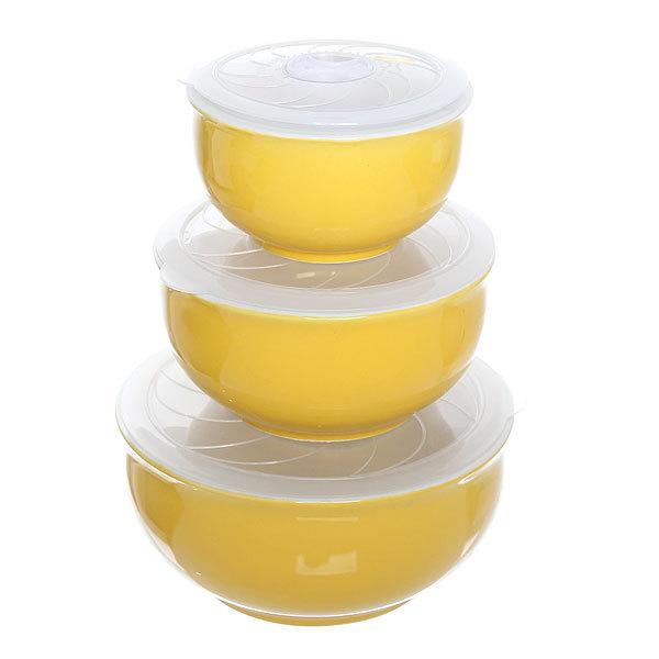 Набор салатников керамических 3шт с крышками ″Радуга″ 200,400,800мл желтый купить оптом и в розницу