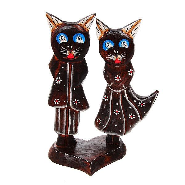 Фигурка из дерева ″Кошки на подставке″, 30см, албезия купить оптом и в розницу