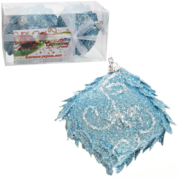 Новогодние шары ″Морозная шишка″ 8см (набор 2шт.) купить оптом и в розницу