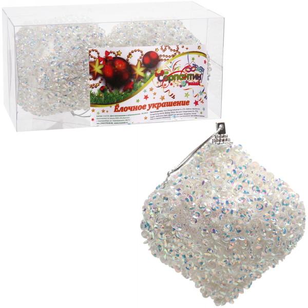 Новогодние шары ″Снежная капля″ 8см (набор 2шт.) купить оптом и в розницу