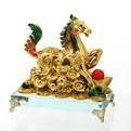 Cувенир ″Конь золотой″ к Процветанию на стеклянной подставке 10*10см XD201 купить оптом и в розницу
