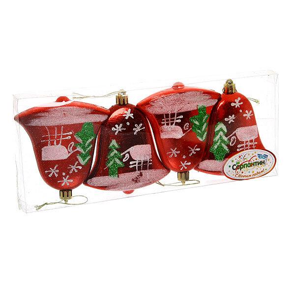 Ёлочные игрушки, набор 4шт, 9,5*7,5см ″Колокольчик, зимняя деревня″красный купить оптом и в розницу