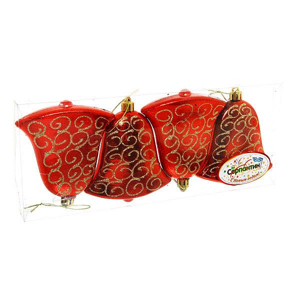 Ёлочные игрушки, набор 4шт, 9,5*7,5см ″Колокольчик золотой узор″ красный купить оптом и в розницу