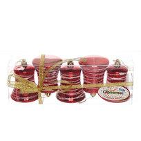Ёлочные игрушки, набор 5шт,7*5см ″Колокольчик паутинка″ красный купить оптом и в розницу