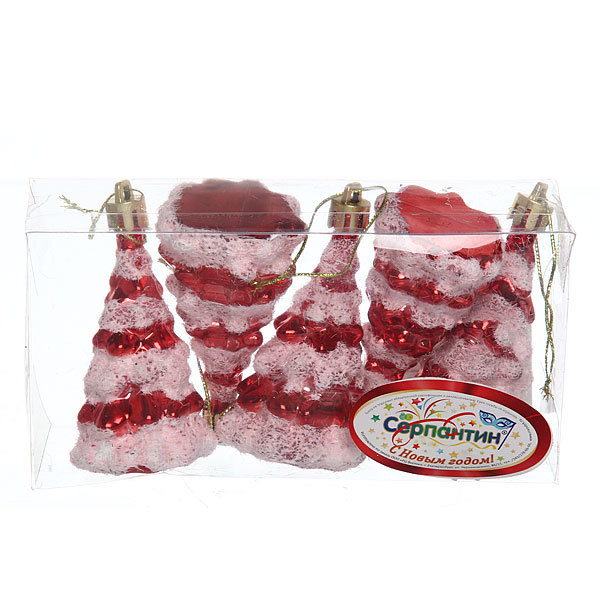 Ёлочные игрушки, набор 5шт, 8*4см″Ёлочка в снежке″ купить оптом и в розницу