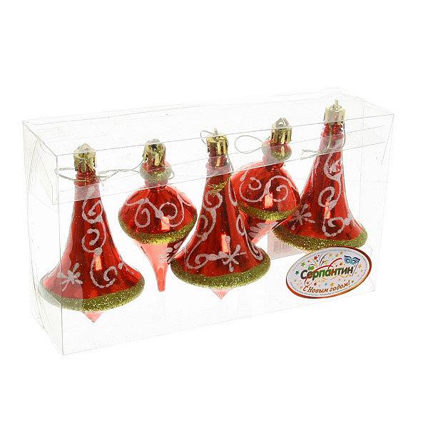 Ёлочные игрушки, набор 5шт, 9,5*5,5см ″Юла Новогодняя″ купить оптом и в розницу