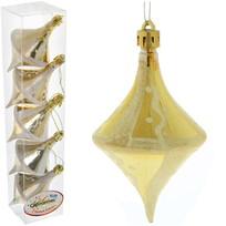 Ёлочные игрушки, набор 5шт, 9,5*5,5см ″Юла золотая паутинка″ купить оптом и в розницу
