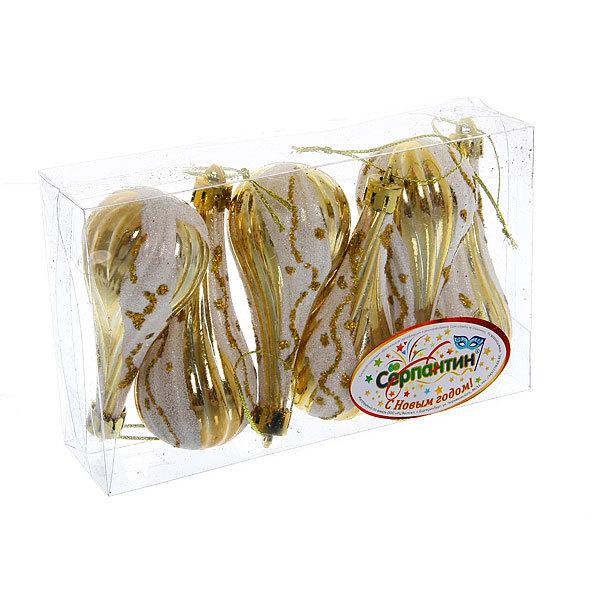 Ёлочные игрушки, набор 6шт, 9*6,5см″Капелька золотой узор″ купить оптом и в розницу