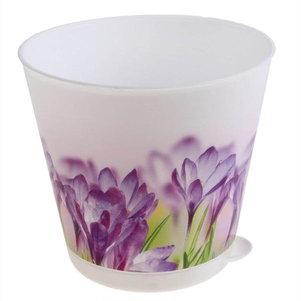 Горшок для цветов Крит D 120 mm с системой прикорневого полива 0,7л цветной*16 купить оптом и в розницу