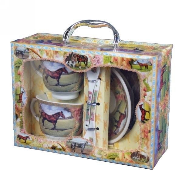 Набор чайный из керамики 4 предмета ″Лошади″ купить оптом и в розницу