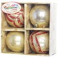 Новогодние шары ″Золотой ветерок″ 7см (набор 4шт.) купить оптом и в розницу