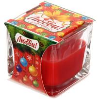 Свеча в квадратном стакане ″Любви!″ (красная) купить оптом и в розницу