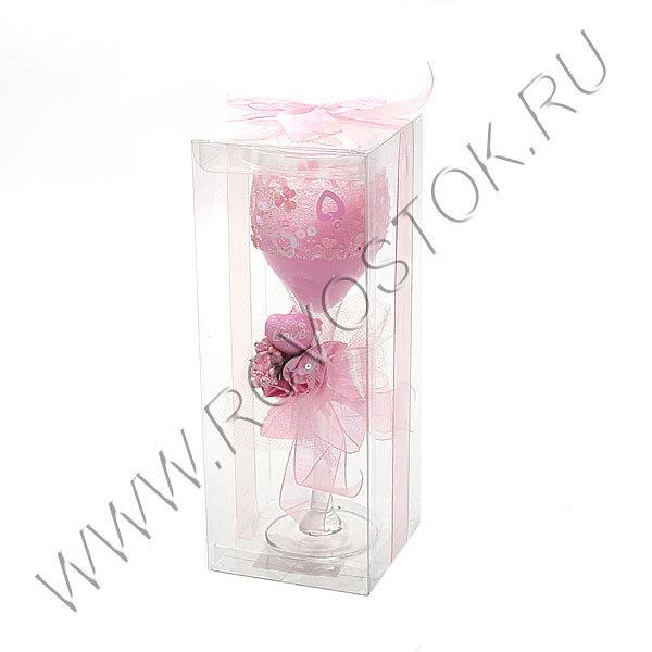 Свеча гелевая ″Сердечная″, розовая, 18 см купить оптом и в розницу