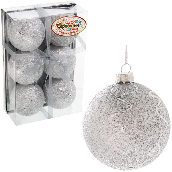 Новогодние шары ″Снежный шар″ 6см (набор 6шт.) купить оптом и в розницу