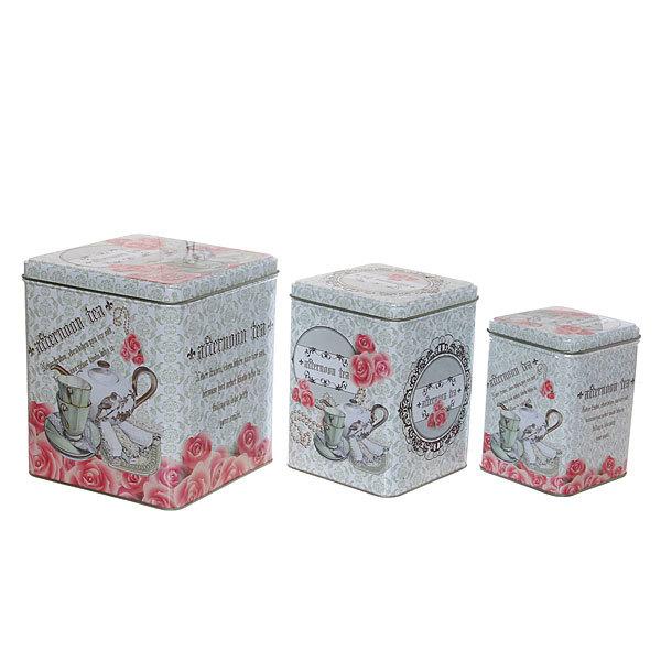 Набор банок для продуктов металлических 3 шт 500,1000,1500 мл ″Прованский стиль″ купить оптом и в розницу