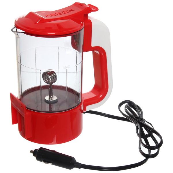 Чайник автомобильный 0,6 л, 12В, 150W с подставкой, вилка в прикуриватель, цвет красный купить оптом и в розницу