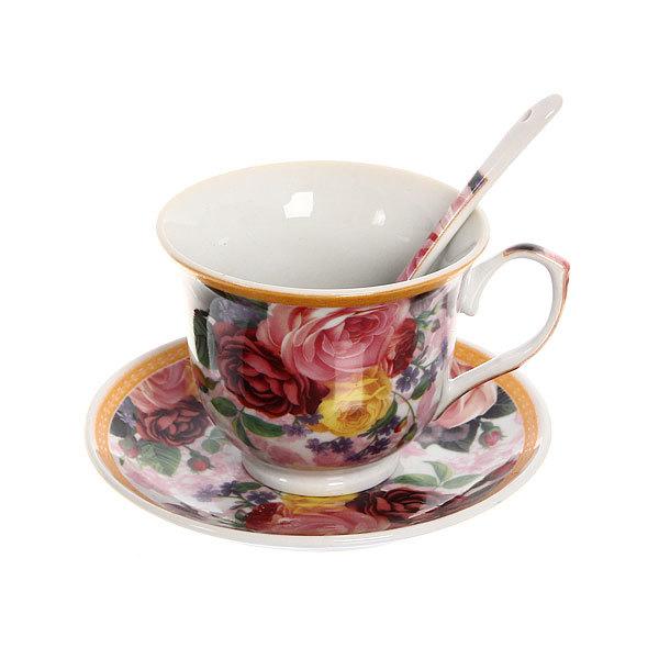 Чайный набор 4 предмета (2 кружки, 2блюдца+ложка) на металлической подставке 3 купить оптом и в розницу