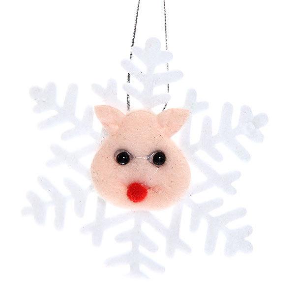 Ёлочная игрушка мягкая 10см ″Снежинка″ купить оптом и в розницу