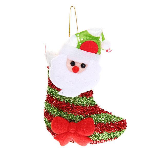 Ёлочная игрушка мягкая 14*9см ″Дед Мороз в носочке″ купить оптом и в розницу