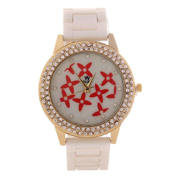 Часы наручные под керамику, цвет белый, оконтовка стразы, белый циферблат с узором купить оптом и в розницу