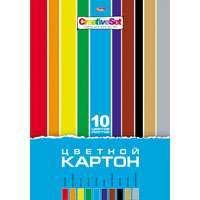 """Картон цветной А4, 10л, 10цв, папка, HATBER, """"Creative Set"""" купить оптом и в розницу"""