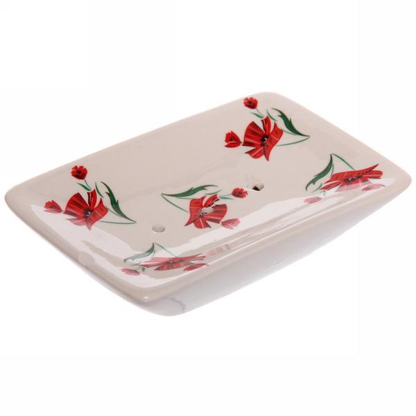 Набор для ванной из 4-х предметов керамический, маки купить оптом и в розницу