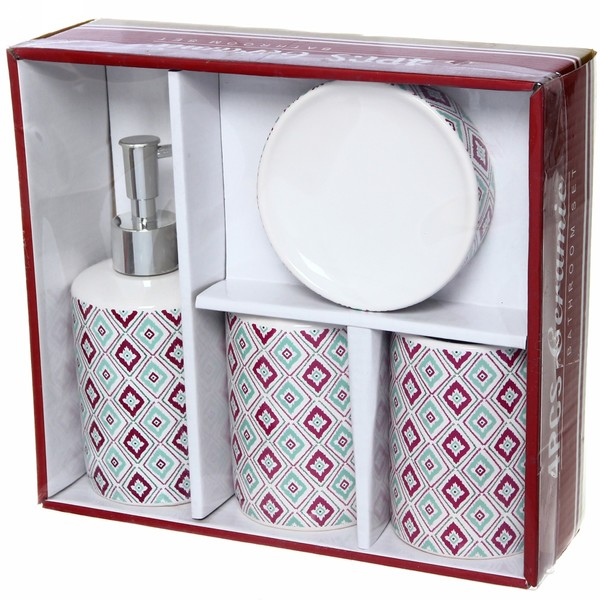 Набор для ванной из 4-х предметов керамический, геометрический рисунок купить оптом и в розницу