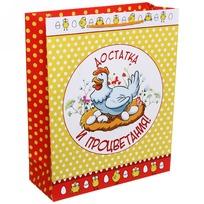 Пакет подарочный 26х32 см вертикальный ″Достатка и процветания!″, Отважные курицы купить оптом и в розницу