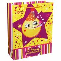 Пакет подарочный 26х32 см вертикальный ″С Днем рождения!″, Смайлы купить оптом и в розницу
