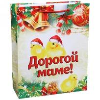 Пакет подарочный 26х32 см вертикальный ″Дорогой маме!″, Золотые цыплята купить оптом и в розницу