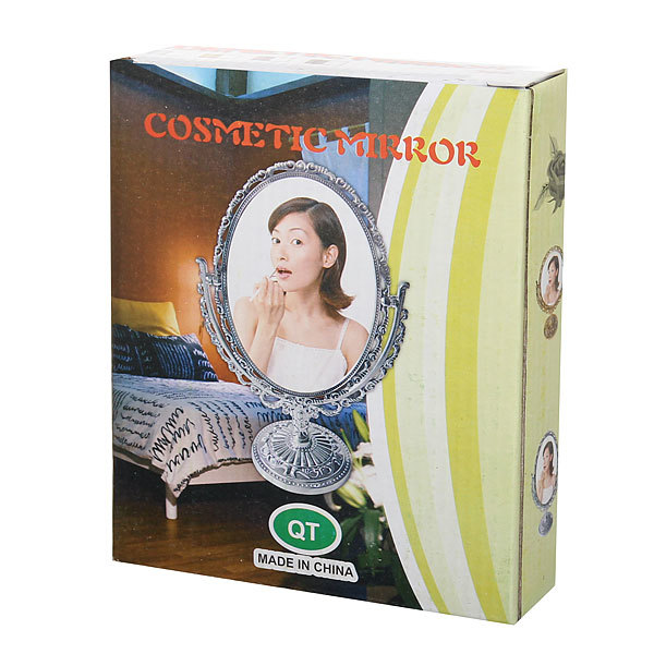 Зеркало настольное в пластиковой оправе ″Версаль Винтаж - Овал″ цвет серебро, двухстороннее 25см купить оптом и в розницу