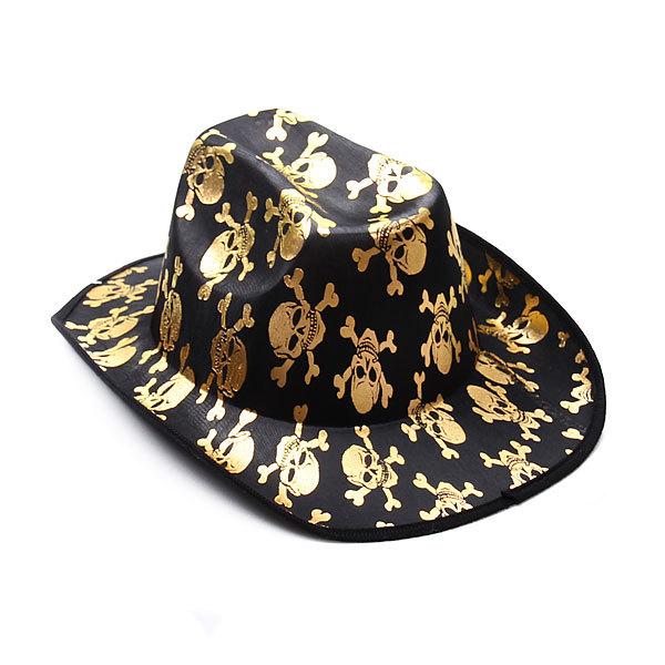 Шляпа карнавальная ″Пират″ золотой череп купить оптом и в розницу