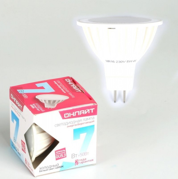 Лампа светодиодная ОНЛАЙТ ОLL-MR16-7-230-4K-GU5.3 (10/200) купить оптом и в розницу